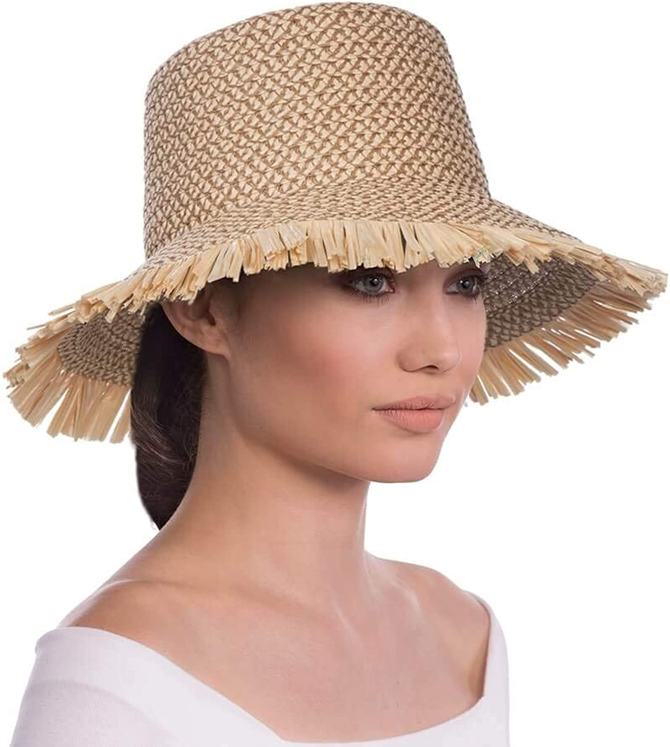 Eric Javits Luxury Fashion Designer Women's Headwear Hat  Tiki Bucket  Peanut