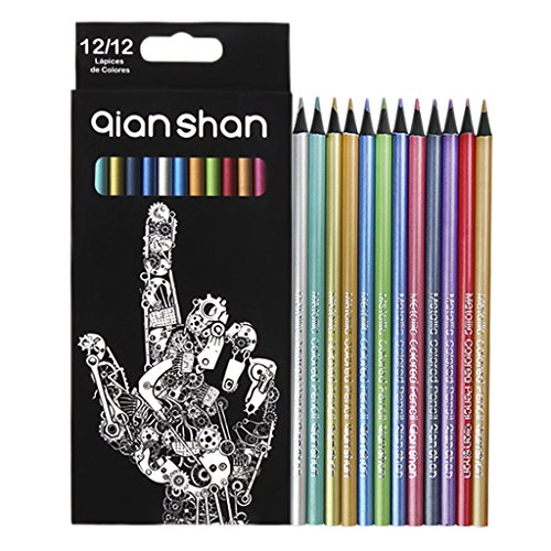 12 Colors Metallic Coloring Drawing Pencils School Art Supplies Colored Pencils for Adult Artist Coloring Books Sketching Painting Blending