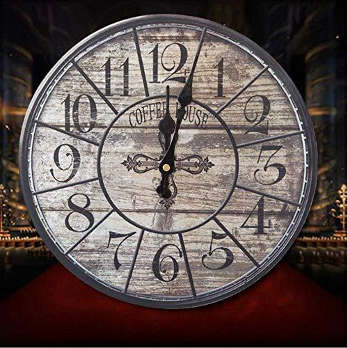 YUN Clock@ Wanduhr Holz Küchenuhr mit großem Ziffernblatt Auto Pyramide, Retro Uhr im angesagtem Shabby Chic Design mit leisem Quarz-Uhrwerk, Ø: 30 cm,I