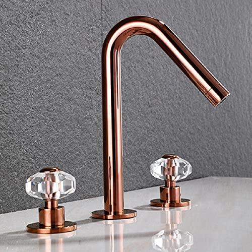 SDCVRE Grifo de Lavabo Oro Baño Grifo para Lavabo Grifo para Lavabo Grifo paraLavabo de Cristal extendido de latón Grifo para Lavabo de latón 8 Pulgadas Tres Orificios, Oro Rosa