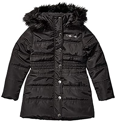 bebe Girls' Little Blk Smocked Long Puffer, Black, 6X