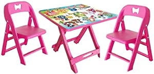 JN Children's Study Desk Children's Table Stool Toddler Tables Hairs Plastic Portable Folding Table Lightweight Save Space Smooth Corners, 1 Table Children's Study Table and Chair Set (Color : Pink)