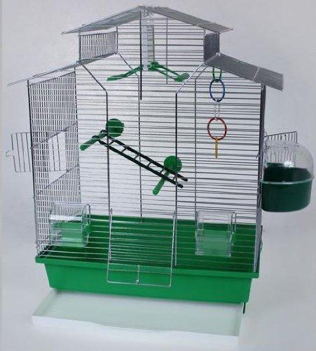 IZA 2 II vogelkooi, exotenkooi, 60 cm vogelkooi Super Trouper vogelkooi golfzitje kanarien volière vogelhuisje kooi IZA 2 II in groen + 3x GRATIS