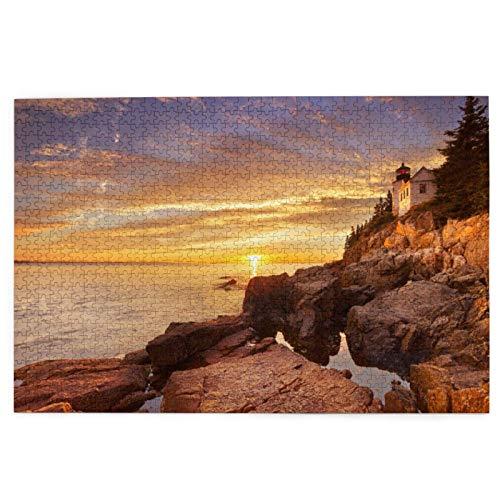 Rompecabezas de 1000 piezas El faro de la cabeza del puerto bajo en el parque nacional de Acadia Maine USA gran familia juego de rompecabezas ilustraciones para adultos adolescentes