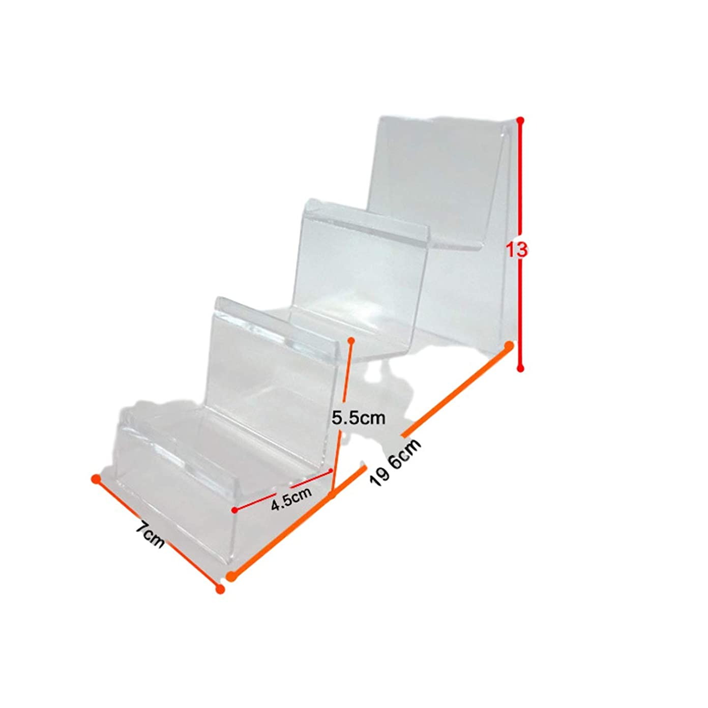 洪水テーブルつなぐMiracle true ディスプレイスタンド 展示 ラック 透明 スマホ 財布 3連 6個 セット (透明, 6個セット)