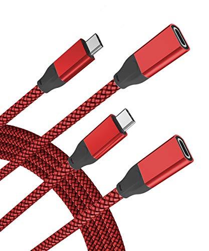 USB C Verlängerungskabel 2M 2-Stück,Typ C 3.1 Gen2 10Gbps Buchse auf Stecker Adapter,(Thunderbolt 3 Compatible) Extension Cable für Macbook Mac M1,iPad Pro 11 12.9 Air 4 Generation,iPhone 12 Mini Max