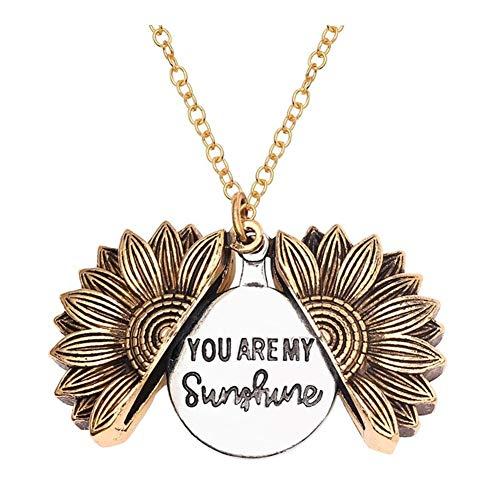 chenran Accesorios Calidad Usted es mi Sol Abierto Locket Girasol Colgante for Las Mujeres Collar Regalo (Length : 55cm, Metal Color : XL0607)