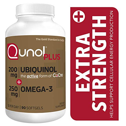 Qunol Plus Ubiquinol Coq10 200mg with Omega 3 250mg, Extra Strength Antioxidant, Coenzyme Q10 for Heart Health, 90 Softgels