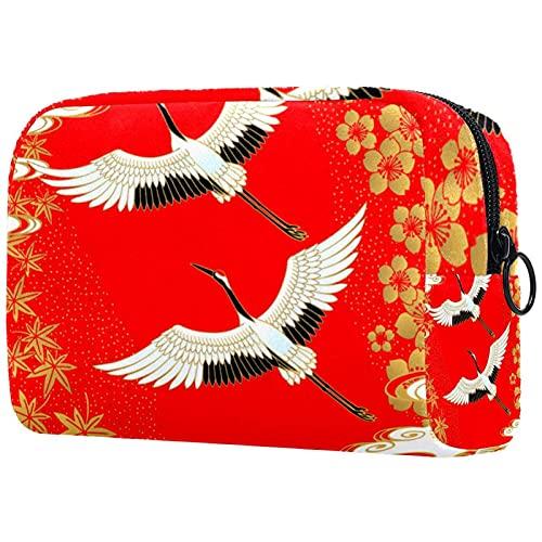 Bolsa de cosméticos Bolsa de Maquillaje Grande Bolsa con Cremallera Bolsa de Aseo Organizador portátil de cosméticos de Viaje Japón grúa pájaro Cherry Arce para Mujeres y niñas