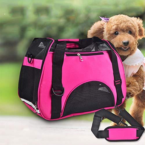 Leilei Haustier Tasche porös atmungsaktiv wasserdicht heraus tragbare einzelne Schulter Mobile Reisetasche Katze Tasche Hund Tasche,Pink,M