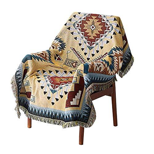 Decken Geometrisches Muster,Sofabezug im amerikanischen Ethno-Stil, sofadecke baumwolle ideal fürs Sofa, Sessel,Wohnzimmer,Schlafzimmer,130x160 cm