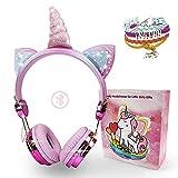 Unicorn Wireless Kids Headphones, Kandice Bluetooth Over On Ear Headset with Microphone Adjustable...