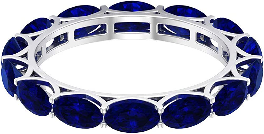 Blue Sapphire Lab Created 4.90 CT Wide Full Eternity Ring, Solid Gold5x3mm Oval Shaped Blue Gemstone Stacking Ring, September Birthstone Wedding Bridal Promise Ba, 14K Gold