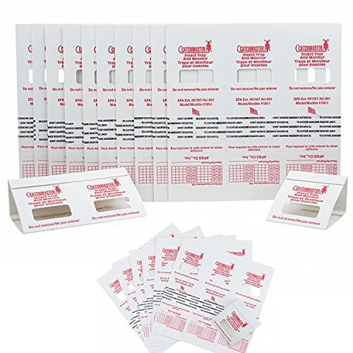 Catchmaster 100i - 30 Piezas - Seguimiento de máxima calidad, trampas cucarachas adhesivas fabricadas en Estados Unidos, Sin veneno ni biocidas, Medio contra Cucarachas grillos, dermápteros, arañas