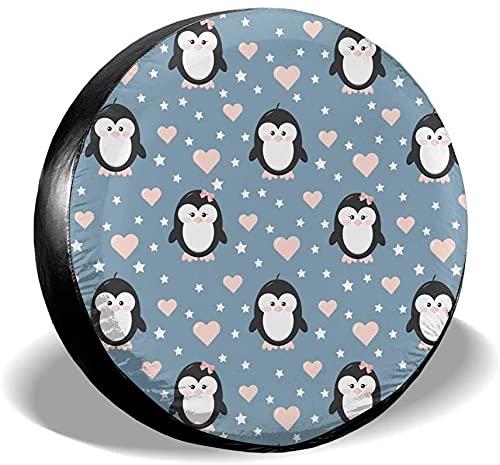 MODORSAN Cute Penguin Hearts - Funda para neumático de Repuesto,poliéster,Universal,de 17 Pulgadas,para Rueda de Repuesto,para Remolque,RV,SUV,camión,camión,Camper,Accesorios de Remolque de Viaje