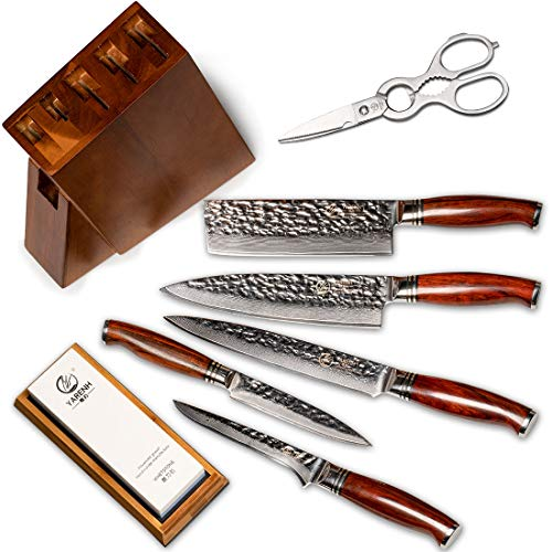 YARENH Sharp Chef Knife Set with Block Wooden 8 PCS - 73 Layers Japanese Damascus Stainless Steel - High Carbon Stainless Steel - Full Tang Dalbergia Wood Handle - Professional Cooking Knives