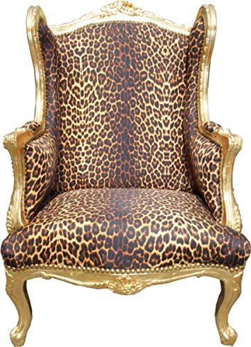 Casa Padrino Barock Lounge Thron Sessel Leopard/Gold - Ohren Sessel - Ohrensessel Tron Stuhl