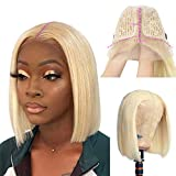 Bob Wigs Blonde Lace Front Human Hair Wigs 13x1 Lace Part Pre Plucked Hairline Short Straight Brazilian Real Human Hair Lace Part Bob Wig Middle Part for Women Bleach Knots 180% Density 12Inch