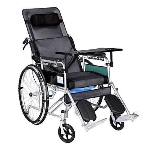 YHFX Funktionsrollstuhl Höhenverstellbarer Rollstuhl - U-förmiges WC Klappbarer Rollstuhl für ältere Personen 180 Grad Rollstuhl für Behinderte 003 (Farbe : Schwarz)