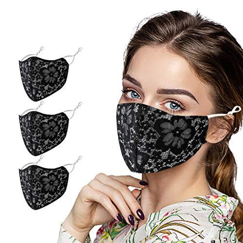 PPangUDing 1/3/6PC Mundschutz Waschbar Wiederverwendbar Sommer Atmungsaktive Staubdicht Mund und Nasenschutz Spitzen Multifunktionstuch Bandana Halstuch für Damen und Herre