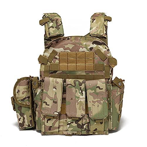 Chaleco táctico mochila ligera bolsa de entrenamiento bolsa de pesca mochila de ciclismo al aire libre bolsa de cintura ajustable y extraíble, camuflaje, M