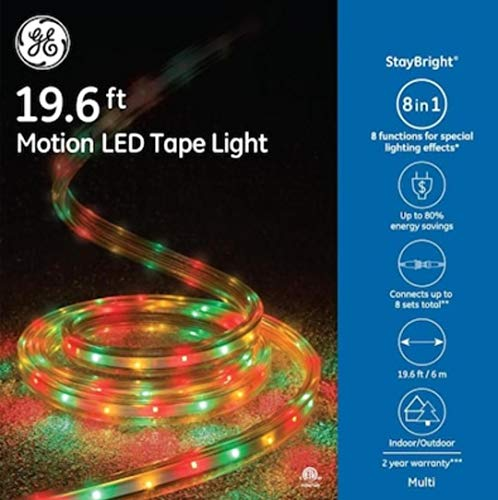 GE StayBright 216-Count 19.6-ft Multi-Function Multicolor Integrated Led Plug-in Christmas Rope Lights Clear Tubing 82165LO