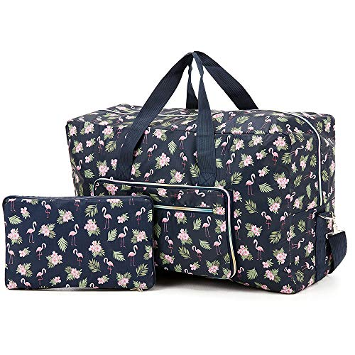 Arxus Large Foldable Duffel Tote Carry on Weekend Overnight Travel Bag Over Luggage with Shoulder Strap (Blue Flamingo)