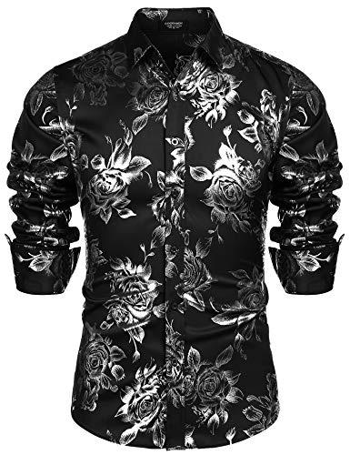 COOFANDY Men's Gold Rose Printed Hipster Slim Fit Long Sleeve Dress Shirts