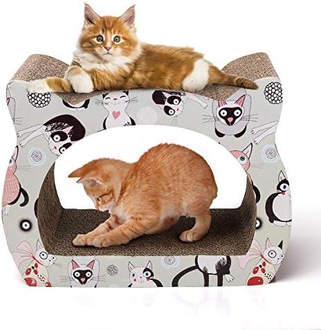 Rascador para Gatos de cartón. Soporte de Descanso con Forma de Gato con Catnip.
