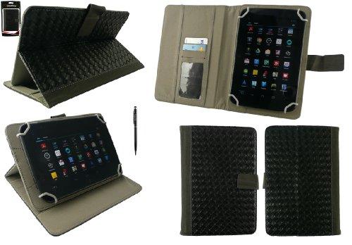 Emartbuy® Allview Viva H8 Life 8 Zoll Tablet Universal Range Schwarz Woven PU Leder Multi Winkel Folio Exekutive Case Cover Wallet Hülle Schutzhülle mit Kartensteckplätze + Schwarz 2 in 1 Eingabestift