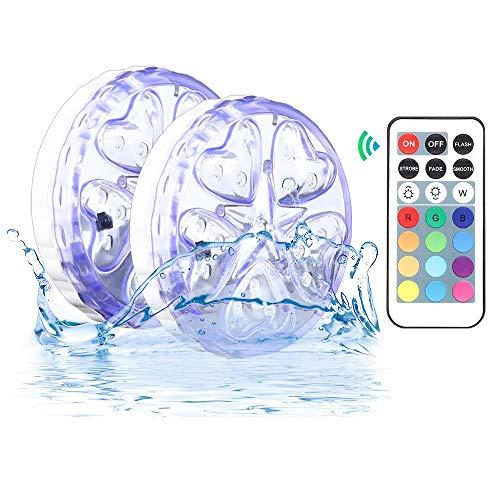 Illuminazione subacquea RGB IP68, illuminazione per piscina a LED Luci per telecomando a LED RGB Luci per piscina illuminazione a led impermeabile Decorazione lampada per Natale, piscina