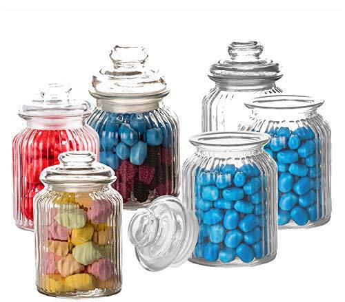 6X Bonbongläser Bonboniere 1 Liter - Mit Deckel - Für Süßigkeiten, Kekse, Kräuter & Gewürze - Vintage Vorratsgläser - Die idealen Helfer für Küche & Haushalt