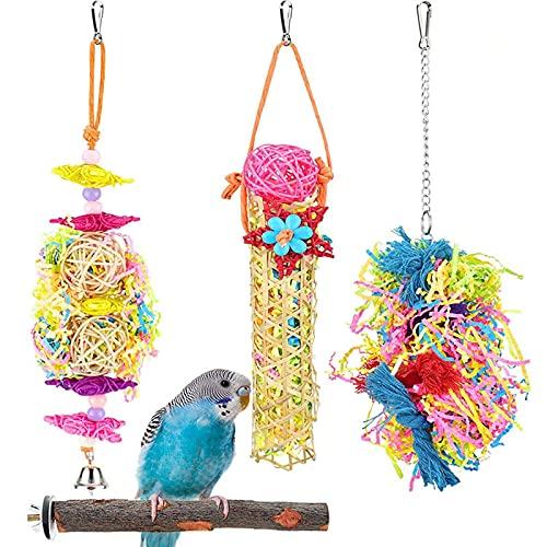4pz Juguetes para Pajaros, Juguetes para Columpios de Pájaros,Juguetes para Pájaros Colorful Columpio para Loros Accesorios Jaula Pajaros Bite Toy,Columpios para Pájaros Loros Hamacas...