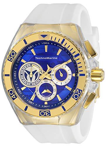 Technomarine Men's Cruise California Stainless Steel Quartz Watch with Silicone Strap, White, 29.1 (Model: TM-118127)