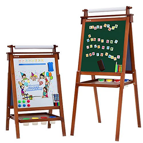 Dripex Kids Art Easel with Paper Roll Children's Day Double Sided Toddler Easel Chalkboard and Magnetic Dry Erase Board for Kid Painting and Drawing, Multiple Kids Art Supplies Included Reddish Brown