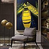 wtnhz Sin Marco Barco Amarillo Pintura al óleo Fondo Negro decoración de la Pared Arte Impreso Moderna decoración para Sala de Estar