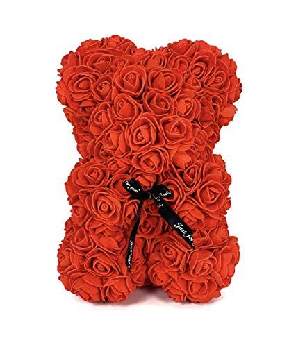 TRIPLE K - Teddybär mit Rosen ca. 28cm groß, Kuscheltier, Handgefertigte Schaum Rosen inkl. Geschenkbox und Grußkarte
