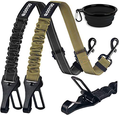 DOYOO Dog Seat Belt,New 2-in-1 Multi-Functional Dog Car Seatbelts 2 Pack Pet Car Seat Belts Adjustable Heavy Duty & Elastic Reflective Vehicle Dog Car Harness (Set 2-Black+ Army Green)