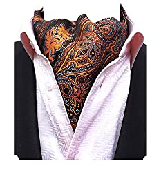 MENDENG Mens Blue Paisley Jacquard Woven Silk Cravat Scarf (Multicolour)