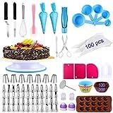 Alpacasso Zubehr zum Dekorieren von Kuchen 238 PCS Kuchen-Dekorations-Kits mit drehbarem Plattenspieler-Stnder, Richtmaschine, 48 Zuckergussspitzen, 100 Einwegbeuteln, Schokoladenform.