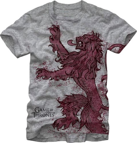 Game of Thrones Solo Lannister Lion Adult T-Shirt - Heather Grey (X-Large)