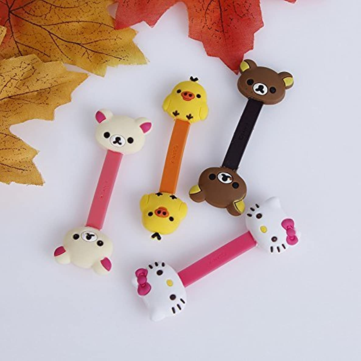 Restonc 4 Pcs Cable Tie Cord Organizer Wire Wrap Headset Headphone Earphone Wrap Winder Cute Cartoon Animal Cable Manager 4 (Fowl, Bear, Creamy Bear, Cat)