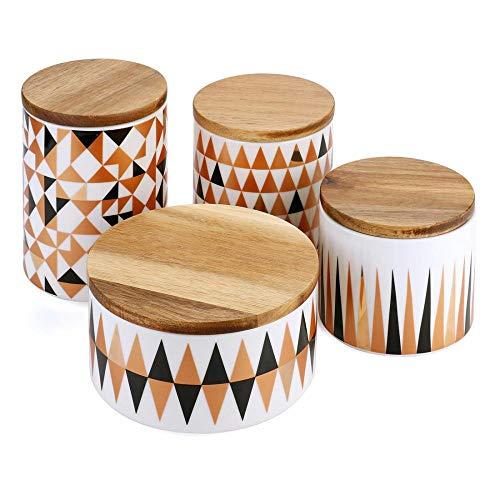Keramikdosen-Set für Küchentheke, modernes Design, Vorratsdose mit luftdichtem Deckel, Bambus-Deckel, 4 Stück
