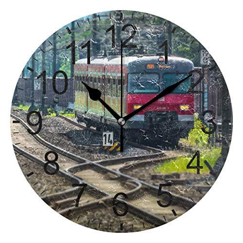 SENNSEE Wanduhr Eisenbahn Zug Retro Wanduhr Dekorative Wohnzimmer Schlafzimmer Küche batteriebetriebene runde Uhr Kunst für Home Decor Einzigartig
