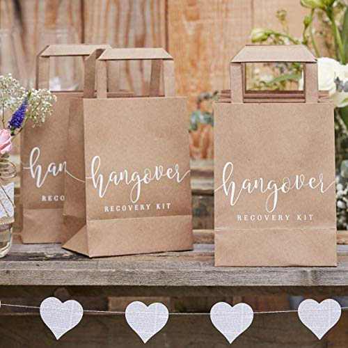 Ginger Ray Natural Kraft Hangover Cure Wedding Recovery Kit Bags 5 Pack Rustic Country