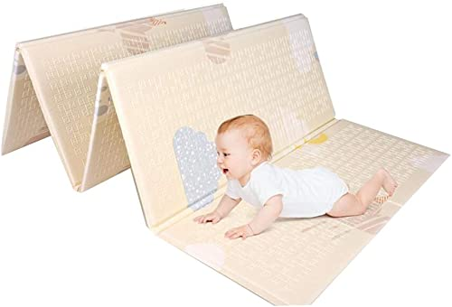 ZHWeißKriechende Matte Faltbar Baby Krabbeln Matte Spielteppich Erwachsene Yogamatte Doppelseitige Verwendung