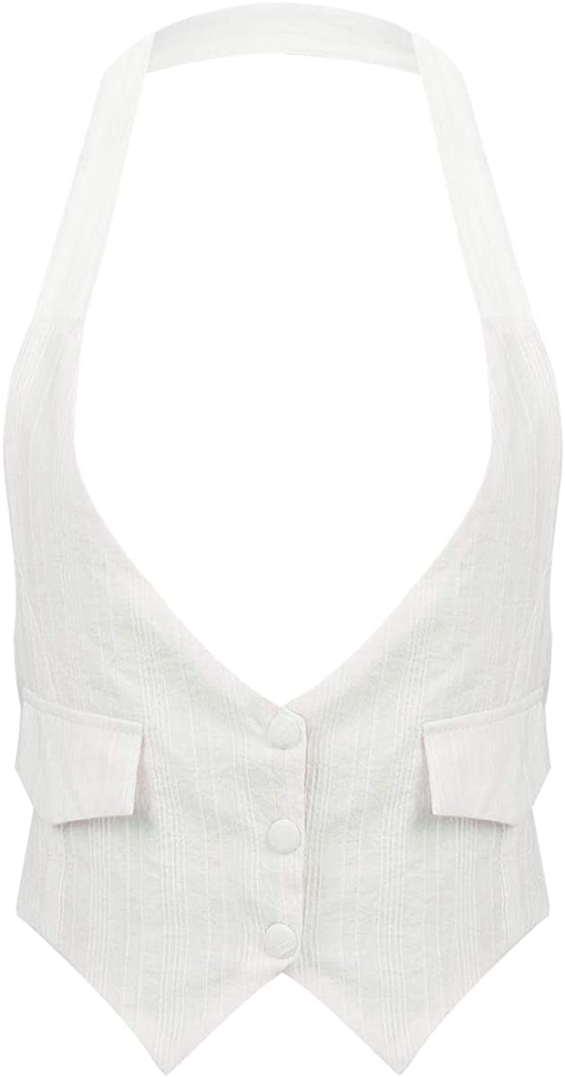 iEFiEL Women's Solid Formal Casual Suit Halter Neck Backless Button Down Vest Waistcoat Tank Top