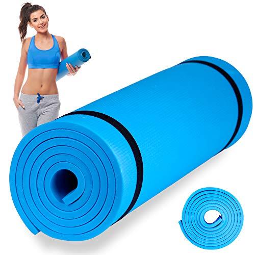 Esterilla de Fitness, Alfombra Yoga, Colchoneta de Gimnasia (Azul Claro, 173X60X0,6 cm)