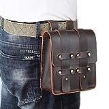 DK86 Leather Belt Pouch Waist Bag Fanny Pack,...