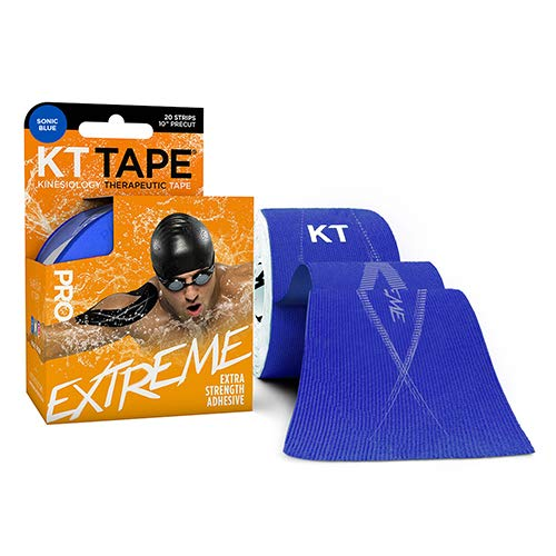 KT Tape Pro Extreme Therapeutic Elastic Kinesiology Sports Tape, 20 Pre Cut 10 inch Strips, 100% Synthetic Water Resistant Breathable, Pro & Olympic Choice, Sonic Blue